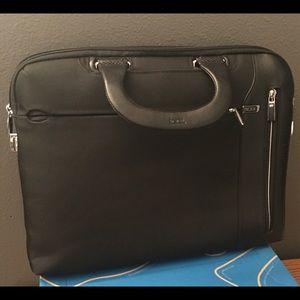 TUMI Slim Deluxe Leather Trim Portfolio Briefcase